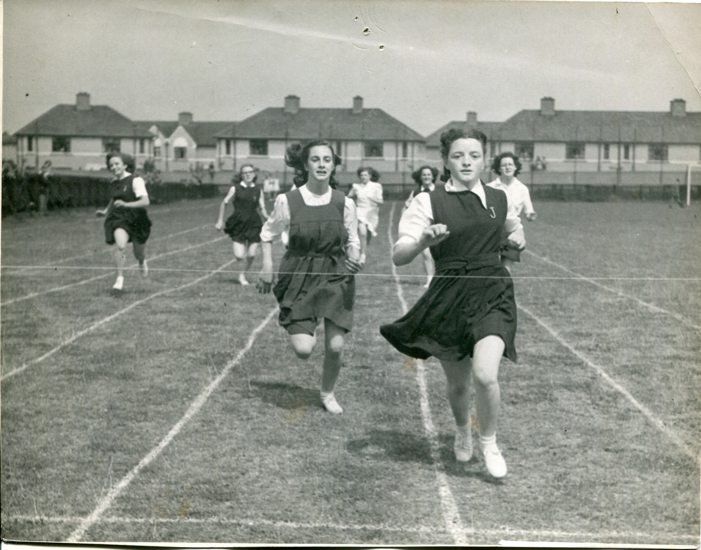 Outdoor girl's race featuring workers from the Jacob's Biscuit Factory